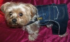 Dog Cat Girl Clothes Blue Jeans Denim Rhinestones Pockets Suspenders Small Only