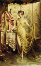"""Art oil painting beautiful young woman in her toilette in bathroom canvas 36"""""""