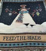 "Lisa Hilliker Feed the Birds Tapestry Blanket Throw Afghan Snowman Winter 52""x60"