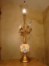 ELEGANT OLD TOLE AND FLOWERS ITALIAN FLORENTINE LAMP