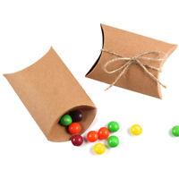 GI- BH_ 50Pcs Cute Kraft Paper Pillow favor Box Wedding Party Favour Gift Candy