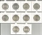 REPUBBLICA ITALIANA - Lotto di 10 pz. da 500 Lire argento differenti (1958/67)