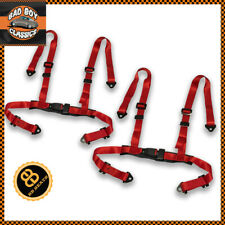 Red 4 Point Car Racing Seat Belt Safety Harness Universal Design x2