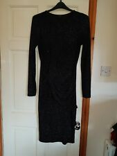 Ladies Size 14/16 Black/Silver Sparkly, Long Sleeved Dress from River Island