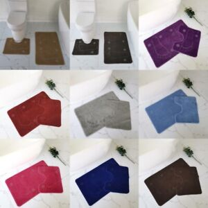 Foot Print Style Bath Mat Toilet Pedestal Set Non Slip Bathroom shower Rugs 2Pcs
