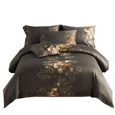 4pcs. Bedding Set Embroidery Duvet Cover Flat Sheet 2 Pillowcases Genuine Queen