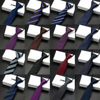 Men Casual Striped Plaids Skinny Zipper Neck Ties Pre-tied Wedding Party Ties