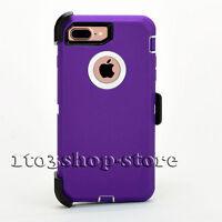 iPhone 7 Plus iPhone 8 Plus Defender Hard Case w/Holster Belt Clip Purple White