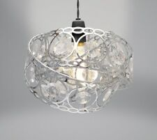 Country Club Metal Light Shade Silver Wrap Around Deco Gems Easy Fit 26cm