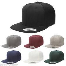 NEW *PREMIUM* SNAPBACK CAP BLACK PLAIN BASEBALL HIP HOP ERA FITTED FLAT PEAK HAT