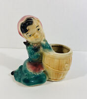 Vintage Flower Pottery Planter Girl Sitting by Barrel Shawnee McCoy Copley