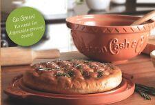 Mason Cash Terracotta Ceramic Baking Set Mixing Bowl & Proving Lid Stone 29cm