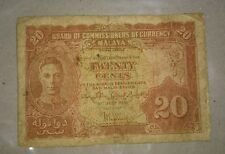 1941 MALAYA Straits Settlement KGVI KING GEORGE twenty 20 cents banknote F tears