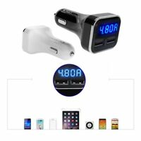 Dual USB Car Cigarette Charger with LED Display Volt Amp Meter DC 4.8A 5V G