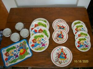 Vintage Ohio Art Childs Dishes Tin Litho Toy 18 pc Tea sets Mix Lot Red Riding