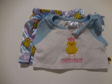 Build A Bear Girls 2 Pc Chicks Rule Top wChick Pictured & Blue Shorts PJs Cute