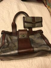 FOSSIL Vintage Reissue Brown & Silver Metallic Leather Satchel with wallet