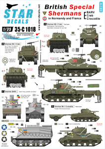 Star Decals 1/35 British Special Sherman in Normandy and France decal  35C1018 x