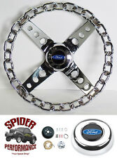 "1970-1977 T-Bird Maverick LTD Pinto steering wheel BLUE OVAL 11"" CHROME CHAIN"