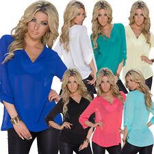 Damen-Blusen 3/4 Arm Damenblusen, - tops & -shirts aus Polyester ohne Muster