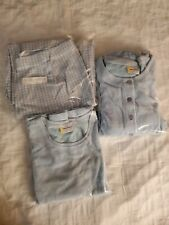 Hanna Andersson 3 Piece Set L/XL Blue Velour Cardigan Top Houndstooth Pants