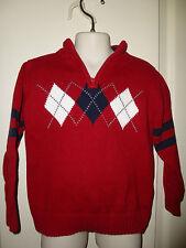 Tommy Hilfiger ~Argyle~Red & Navy Pullover 1/4 Zip Sweater Sz 3 Ln!