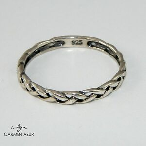 925 Sterling Silver Ring Solid Celtic Braided Size L,L1/2,N1/2,O,P1/2,Q Gift Bag