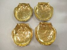Rare Lot Of 4 Vintage solid Brass Stackable Owl Ashtray Coasters Excellent
