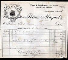 """SANCOINS (18) VINS & SPIRITUEUX """"Maison BATAILLER / Petrus MAQUET Succ"""" 1912"""