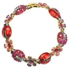 Kirks Folly Enchanted Ladybird Ladybug Clasp Bracelet Fuchsia, Red, and Purple