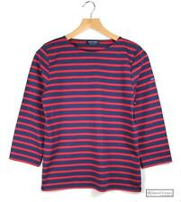 Boat Neck 3/4 Sleeve Striped Tops & Shirts for Women