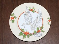 Fitz and Floyd Christmas Holly Dove Salad / Dessert Plate Porcelain Japan