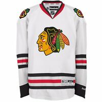 New Men's REEBOK NHL PREMIER JERSEY White Chicago Blackhawks