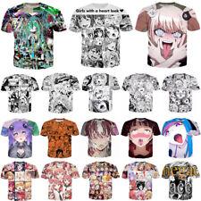 New Women Men 3D T-Shirt Ahegao Girls Funny Print Casual Short Sleeve Tops Tee