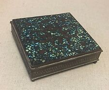 Antique Vintage Brass Inlaid Turquoise India Cigarette Trinket Box w/ Spades