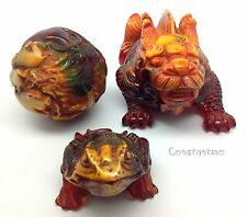Imperial Gift Set: 12 Zodiac Amber Ball, Amber Dragon-Fish And Lucky Toad
