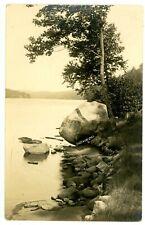 Big Moose NY -GIANT BOULDER ON SHORE- RPPC H.M. Beach Postcard Adirondacks