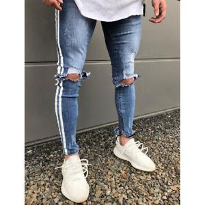 Mens Ripped Jeans Denim Pants Distressed Biker Skinny Casual Slim Fit Trousers