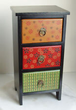 Multi Coloured Wood 3 Drawer Chest, For Jewelry or Storage