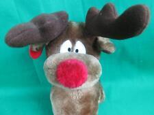 Christmas Vintage Russ Berrie Brown Rudolph The Red Nose Reindeer Radar Plush
