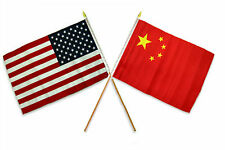 "12x18 12""x18"" Wholesale Combo USA American & China Chinese Stick Flag"