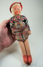"""Vintage Rag Doll With Painted Composition Face Made in Poland 12"""" Tall ca. 1940s"""