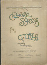 COLLEGE SONGS FOR GIRLS (1891) FLORENCE LEONARD, SMITH COLLEGE