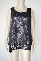 €80 DESIGUAL sz L / USA M BLOUSE TOP SLEEVELESS FLORAL STRETCH GUIPURE SHINY NEW