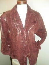 100% Leather Concept Woman Burgundy Python Print Jacket 3X Lined with Nylon