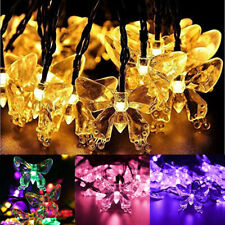 50 20 LED Solar Powered Butterfly Fairy String Lights Garden Outdoor Fence Lamp