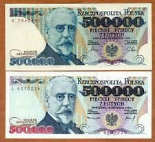 SET Poland, 2 x 500000 Zlotych, 1990,1993 P-156-161, Hyperinflation UNC