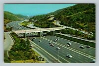 Hollywood CA, Hollywood Freeway, Cahuenga Pass, Chrome California Postcard