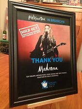 """BIG 10x13 FRAMED MADONNA """"LIVE IN BROOKLYN 9/19/15 - SOLD OUT!"""" LP CD PROMO AD"""
