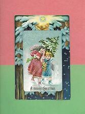 ANGEL CARRIES TREE For Lovely GIRL On Colorful Vintage Unused CHRISTMAS Postcard